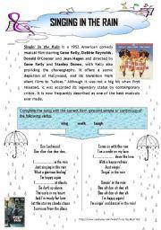 english worksheet song singing in the rain. Black Bedroom Furniture Sets. Home Design Ideas