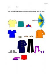 English worksheet: Cross the clothes and the related items that you don´t use on summer