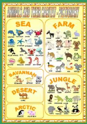 English Worksheets: ANIMALS AND THEIR HABITAT - PICTIONARY