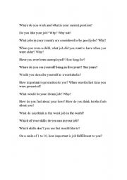 English Worksheets: Career Questions