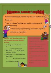 English Worksheets: somebody/ anything/ noone