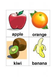 English Worksheet: fruit flash cards