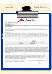 English Worksheet: Job advert and application, vocabulary - with a real advert, key