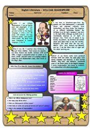 English Worksheet: English Literature - William Shakespeare