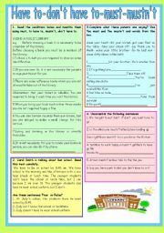 English Worksheet: modals:have to-don´t have to-must-mustn´t