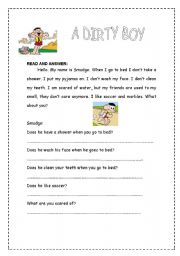 English Worksheets: A Dirty Boy