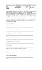 English Worksheets: WH  QUESTION  READING COMPREHENSION