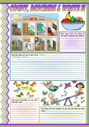 Count, describe & write II: numbers • actions • colors • rooms of a house • furniture • fruit • there is • there are • writing • description • 4 easy tasks for beginners • fully editable