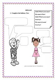 Hello for kids esl worksheet by simonne hello for kids m4hsunfo