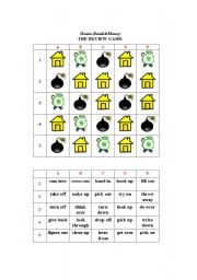 English Worksheet: House,Bomb&Money (The Review Game) with Phrasal Verbs (E D I T A B L E)
