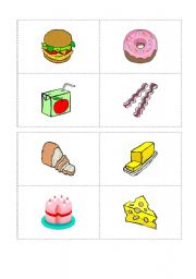 English Worksheet: food cards for the bingo