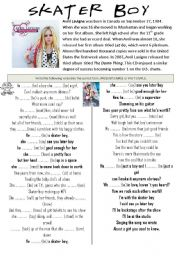 English Worksheet: Song Skater Boy Past Simple and Present Simple