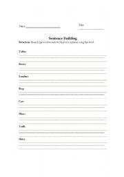 English Worksheets: making Sentences