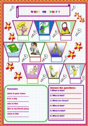 English Worksheets:  Who ?    or     What ?      :) :) :)