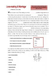 English Worksheet: Love-making and Marriage