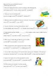 English Worksheet: Money Quiz, fun with pictures