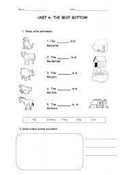English Worksheet: FARM ANIMALS HOMES