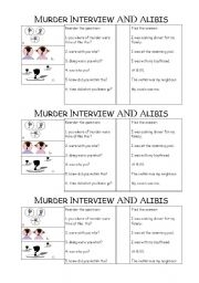 English Worksheets: MURDER INTERVIEW QUESTIONS