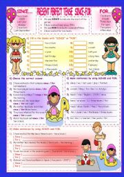 English Worksheet: PRESENT PERFECT TENSE / SINCE - FOR