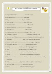 English Worksheets: Relative Pronouns �Who� and �Which�