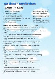 English Worksheets: so that , such that