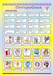 English Worksheets: occupations and abilities