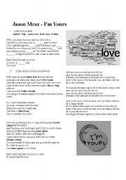 English Worksheets: I�m Yours Jason Mraz