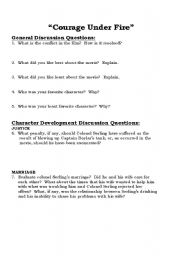 English Worksheets: Courage Under Fire questions
