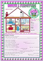 English Worksheet: House & Furniture: vocabulary • there is • there are • can • prepositions •3 tasks • B&W version • teacher's handout with keys • 3 pages • fully editable