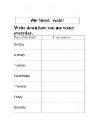 Printables Water Conservation Worksheets english teaching worksheets water we need water