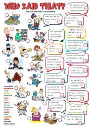 English Worksheet: Who said that? 3 (B&W + KEY included)