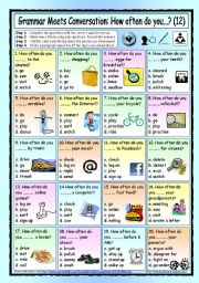 English Worksheets: Grammar Meets Conversation: How Often Do You...? (12) - Asking about frequency