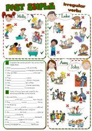 English Worksheet: PAST SIMPLE - irregular verbs *2 pages, 8 tasks*