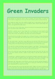 English Worksheets: Green Invaders