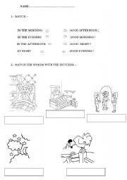 English Worksheets: GREETINGS IN THE MORNING, AT NIGHT...