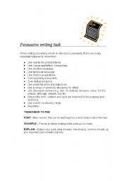 English Worksheet: Persuasive writing task using persuasive devices