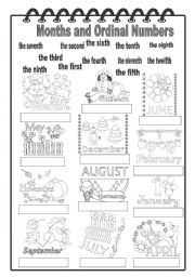 English Worksheet: Months and Ordinal Numbers