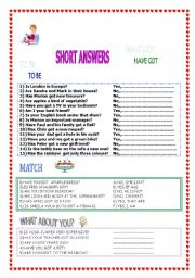 English Worksheets: SHORT ANSWERS TO BE AND HAVE GOT