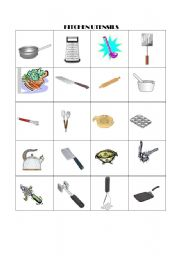 English Worksheets Kitchen Utensils Memory Game