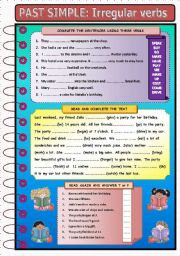 PAST SIMPLE: IRREGULAR VERBS (WB version and KEYS included)