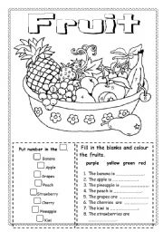 English Worksheet: Fruit