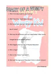 English Worksheet: DIARY OF A WIMPY KID (first 20 minutes)