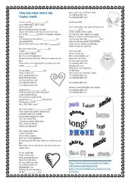 English Worksheet: Song Belong with me by Taylor Swift with keys