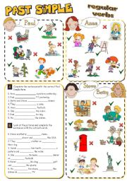 English Worksheet: PAST SIMPLE - regular verbs *2 pages, 8 tasks*