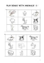 English Worksheets: BINGO WITH ANIMALS part 1
