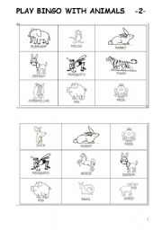 English Worksheets: PLAY BINGO WITH ANIMALS part 2