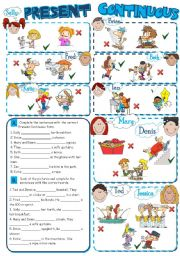 English Worksheet: PRESENT CONTINUOUS *2 pages, 8 tasks*