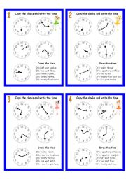 English Worksheet: CLOCK CARDS