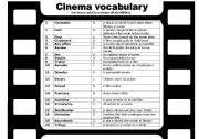 Cinema and film vocabulary - a matching activity with key, fully editable