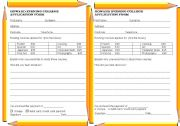 College application - filling in forms activity, personal details, giving reasons